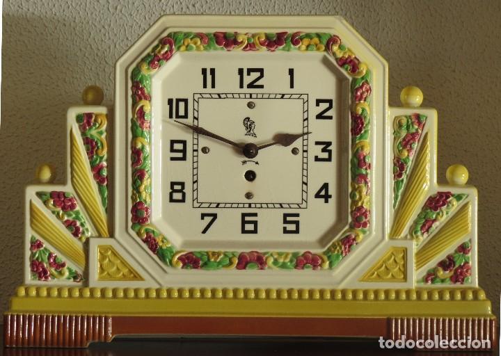 Relojes de carga manual: Reloj sobremesa artdeco con guarnición porcelana - Foto 2 - 93756740