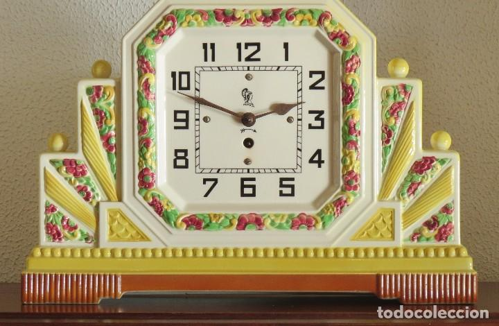 Relojes de carga manual: Reloj sobremesa artdeco con guarnición porcelana - Foto 3 - 93756740