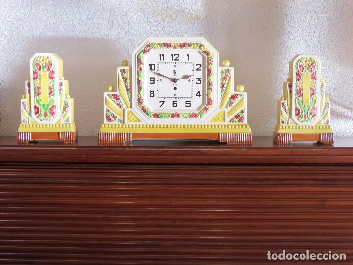 Relojes de carga manual: Reloj sobremesa artdeco con guarnición porcelana - Foto 4 - 93756740