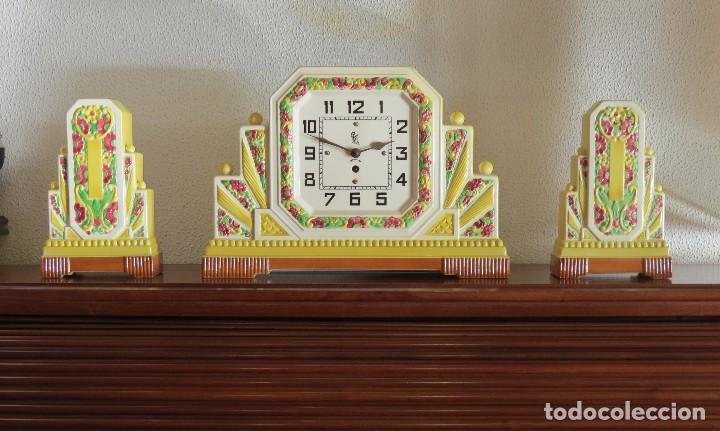 Relojes de carga manual: Reloj sobremesa artdeco con guarnición porcelana - Foto 5 - 93756740