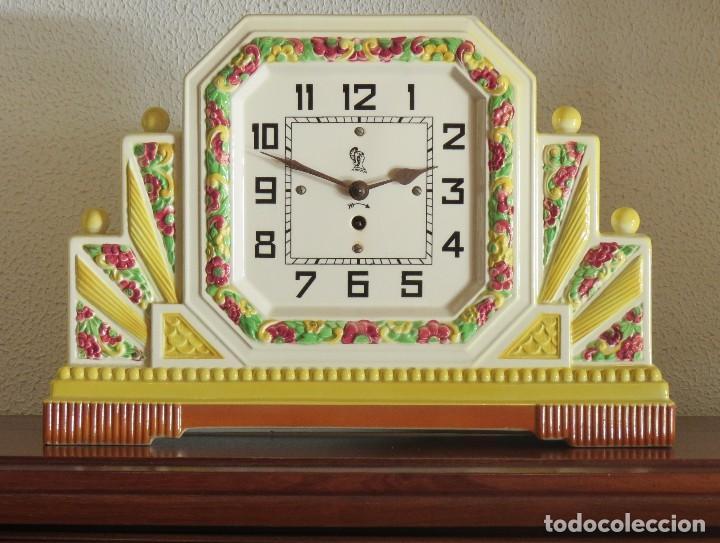 Relojes de carga manual: Reloj sobremesa artdeco con guarnición porcelana - Foto 6 - 93756740