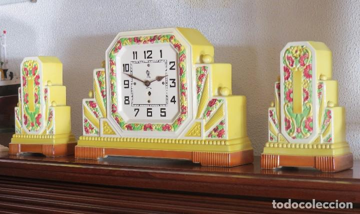 Relojes de carga manual: Reloj sobremesa artdeco con guarnición porcelana - Foto 7 - 93756740