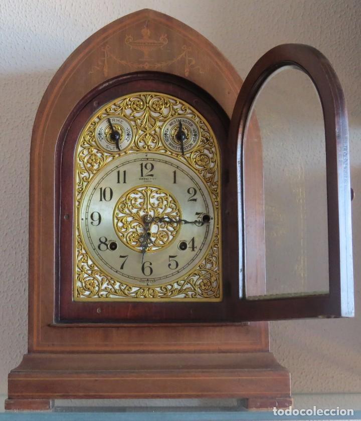 Relojes de carga manual: ANTIGUO RELOJ SONERIA 8 CAMPAN AS MARCA HIERRO Y CIA. HABANA HECHO EN USA - Foto 2 - 93758615