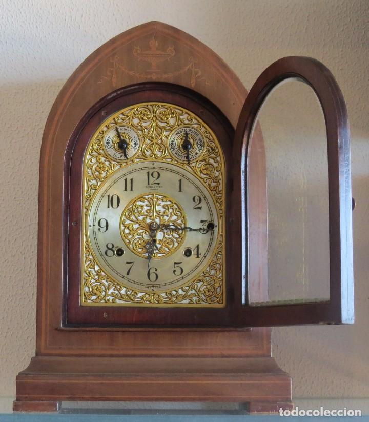 Relojes de carga manual: ANTIGUO RELOJ SONERIA 8 CAMPAN AS MARCA HIERRO Y CIA. HABANA HECHO EN USA - Foto 4 - 93758615