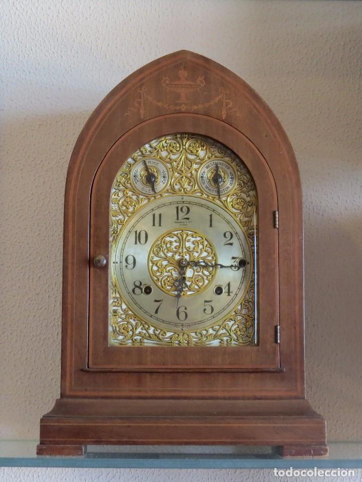 Relojes de carga manual: ANTIGUO RELOJ SONERIA 8 CAMPAN AS MARCA HIERRO Y CIA. HABANA HECHO EN USA - Foto 6 - 93758615