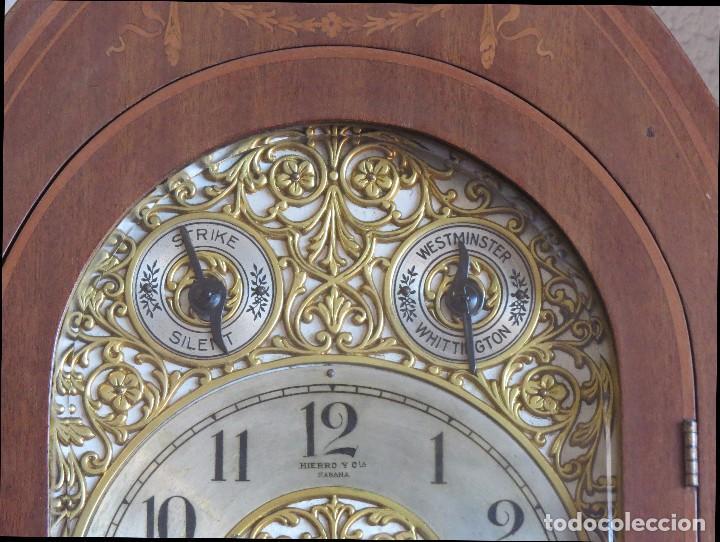 Relojes de carga manual: ANTIGUO RELOJ SONERIA 8 CAMPAN AS MARCA HIERRO Y CIA. HABANA HECHO EN USA - Foto 8 - 93758615