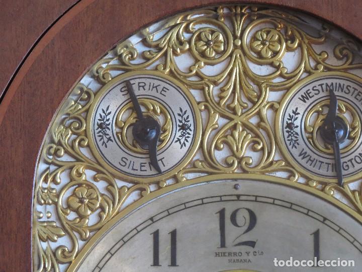 Relojes de carga manual: ANTIGUO RELOJ SONERIA 8 CAMPAN AS MARCA HIERRO Y CIA. HABANA HECHO EN USA - Foto 9 - 93758615