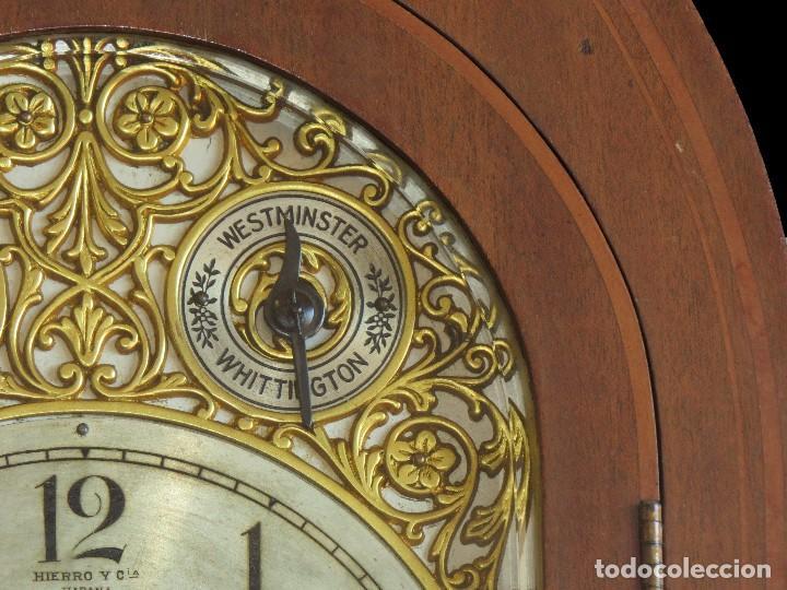 Relojes de carga manual: ANTIGUO RELOJ SONERIA 8 CAMPAN AS MARCA HIERRO Y CIA. HABANA HECHO EN USA - Foto 10 - 93758615