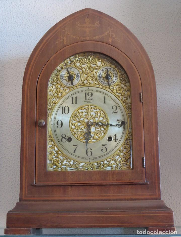 Relojes de carga manual: ANTIGUO RELOJ SONERIA 8 CAMPAN AS MARCA HIERRO Y CIA. HABANA HECHO EN USA - Foto 26 - 93758615