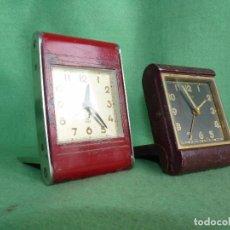 Relojes de carga manual: PAREJA RELOJ ORIS Y JAZ DESPERTADOR DE PETACA O VIAJE ART DECO AÑOS 30 FUNCIONANDO COLECCION. Lote 94122055