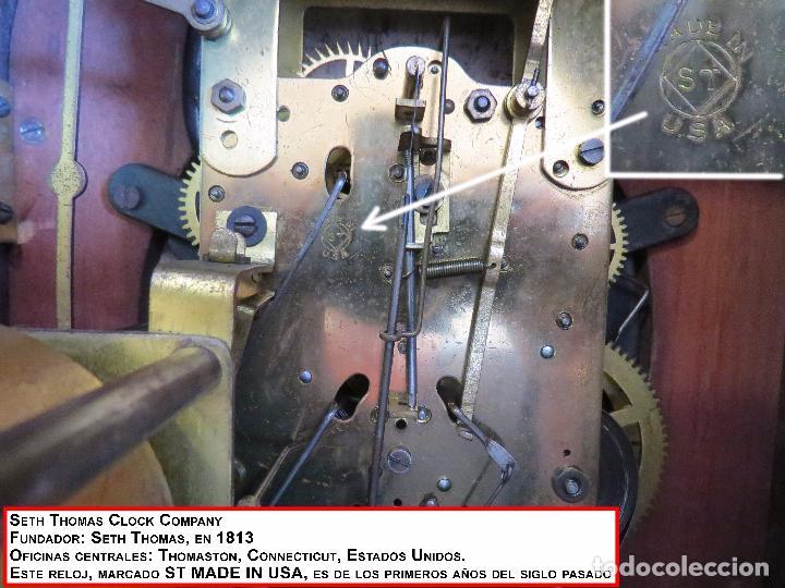 Relojes de carga manual: ANTIGUO RELOJ SONERIA 8 CAMPAN AS MARCA HIERRO Y CIA. HABANA HECHO EN USA - Foto 32 - 93758615