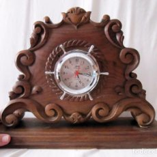 Relojes de carga manual: RELOJ DE SOBREMESA SCHATZ MINI-MARINER - RELOJ MARINO EN BASE DE MADERA NOBLE - LEER. Lote 95107747