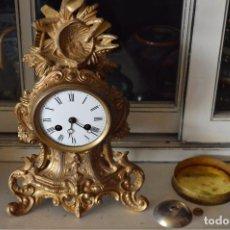 Relojes de carga manual: ATRACTIVO PEQUEÑO RELOJ ESTILO ROCAILLE EN CALAMINA DORADA. Lote 96962399