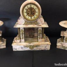 Relojes de carga manual: RELOJ NAPOLEÓN III DE MÁRMOL BLANCO. Lote 97275415