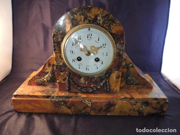 Relojes de carga manual: RELOJ DE MARMOL SIENA ART DECO MAQUINA PARIS DE PORCELANA - Foto 2 - 97753415