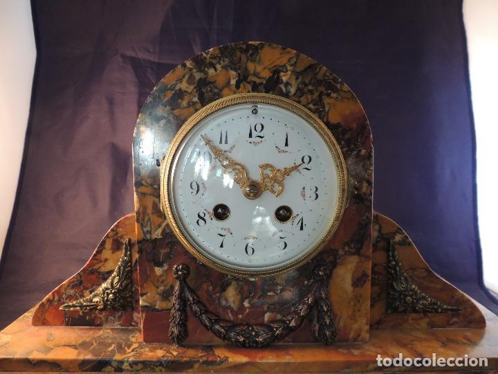 Relojes de carga manual: RELOJ DE MARMOL SIENA ART DECO MAQUINA PARIS DE PORCELANA - Foto 3 - 97753415