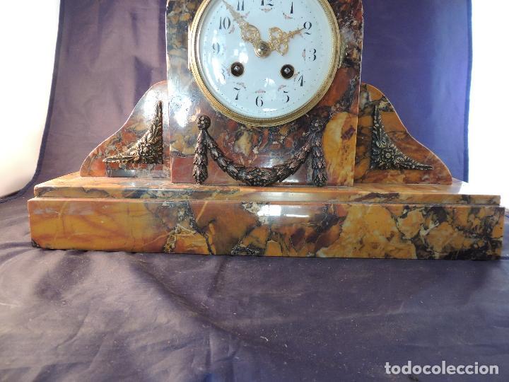 Relojes de carga manual: RELOJ DE MARMOL SIENA ART DECO MAQUINA PARIS DE PORCELANA - Foto 4 - 97753415