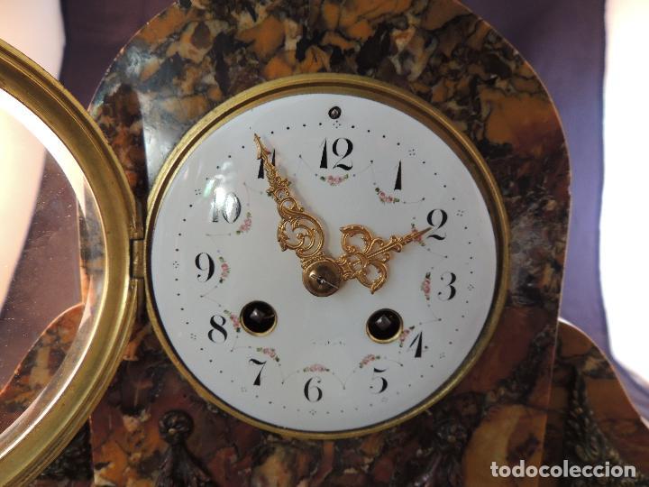 Relojes de carga manual: RELOJ DE MARMOL SIENA ART DECO MAQUINA PARIS DE PORCELANA - Foto 10 - 97753415