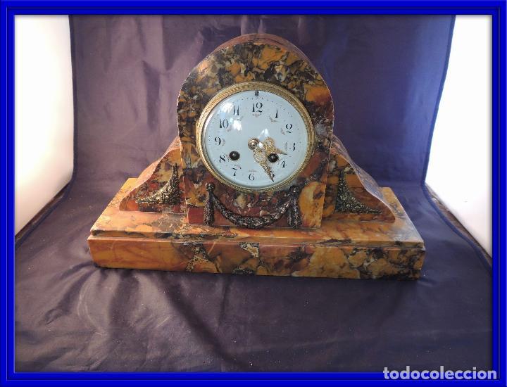 RELOJ DE MARMOL SIENA ART DECO MAQUINA PARIS DE PORCELANA (Relojes - Sobremesa Carga Manual)