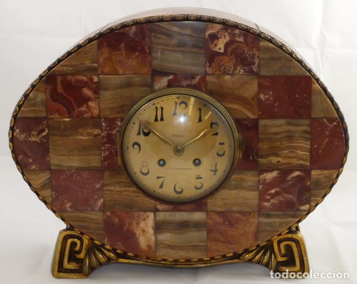 PRECIOSO RELOJ DE SOBREMESA DE LOS AÑOS 30. ART-NOUVEAU. MAQUINARIA MARCA WEBER (Relojes - Sobremesa Carga Manual)