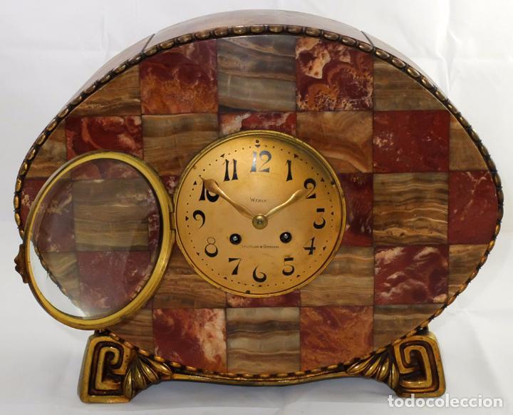 Relojes de carga manual: PRECIOSO RELOJ DE SOBREMESA DE LOS AÑOS 30. ART-NOUVEAU. MAQUINARIA MARCA WEBER - Foto 4 - 99145779