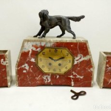 Relojes de carga manual: RELOJ ART DECO FRANCÉS EN CALAMINA Y MÁRMOL ROSA, GUARNICIONES, ART NOUVEAU, MODERNISTA, JUGENDSTIL. Lote 99670515