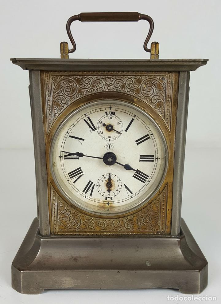 RELOJ DE CARRUAJE. JUNGHANS. JAULA DE METAL. NO FUNCIONA. SIGLO XIX-XX. (Relojes - Sobremesa Carga Manual)