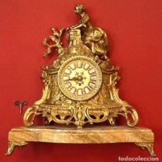 Relojes de carga manual: LIQUIDACION RELOJ DE BRONCE / PEANA DE MÁRMOL / MAQUINARIA - CARGA MANUAL /. Lote 104979835