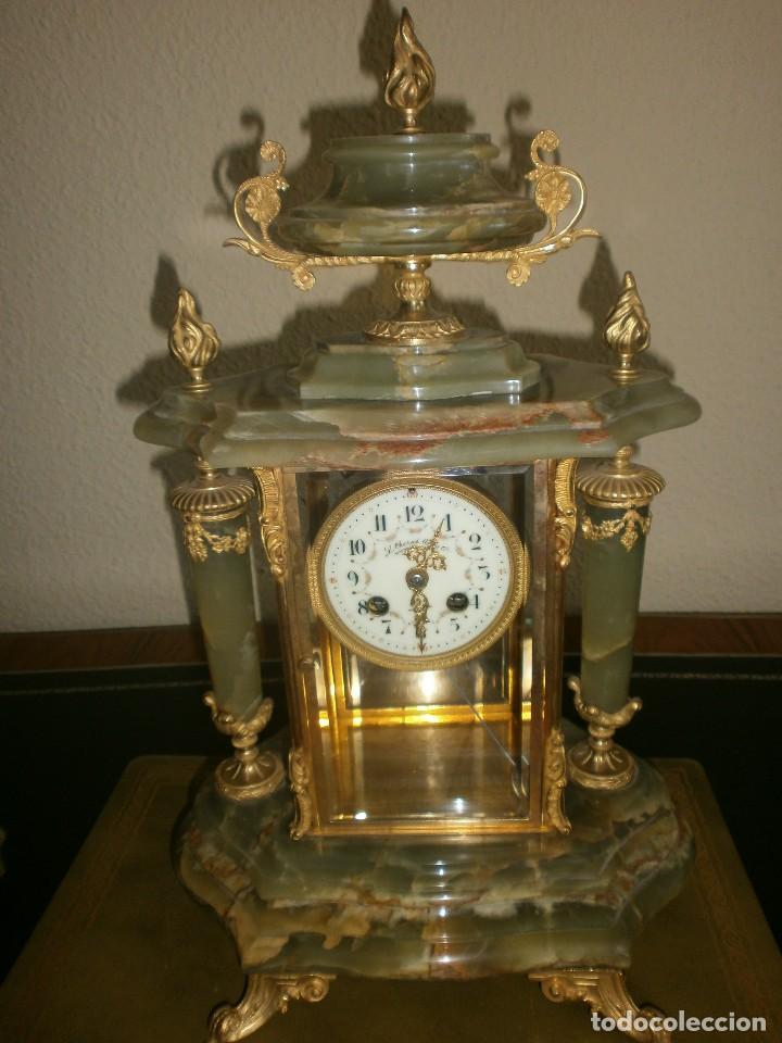 Relojes de carga manual: PRECIOSO RELOJ DE ONIX Y BRONCE PARISINO: L CHARVET AINE LYON + GUARNICIÓN (2 COPAS) - Foto 2 - 105008255