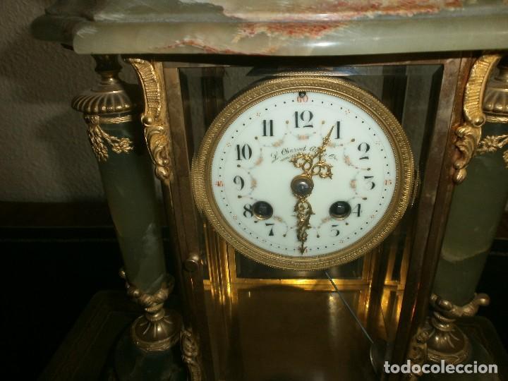Relojes de carga manual: PRECIOSO RELOJ DE ONIX Y BRONCE PARISINO: L CHARVET AINE LYON + GUARNICIÓN (2 COPAS) - Foto 3 - 105008255