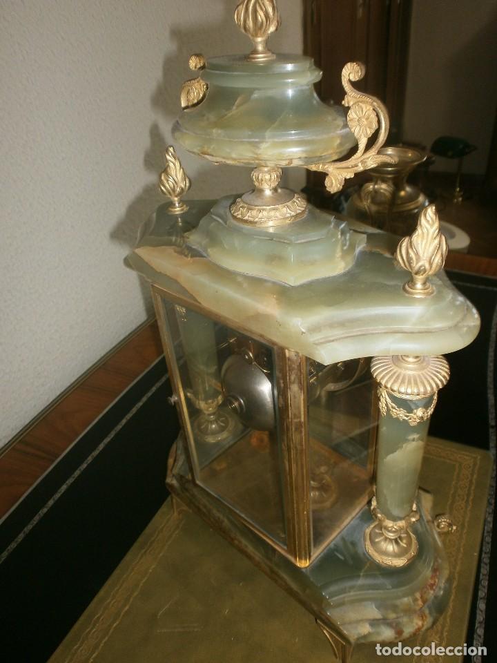 Relojes de carga manual: PRECIOSO RELOJ DE ONIX Y BRONCE PARISINO: L CHARVET AINE LYON + GUARNICIÓN (2 COPAS) - Foto 6 - 105008255