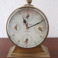 Relojes de carga manual: ANTIGUO RELOJ BRONCE DE SOBREMESA HORA MUNDIAL LONDON-PARIS-HONG KONG-NEW YORK-TOKYO - ESFERA 17,5 C. Lote 105592943