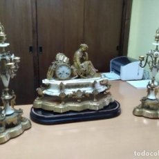 Kaminuhren - Reloj bronce y candelabros - 109073623