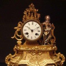 Relojes de carga manual: IMPRESIONANTE RELOJ FRÁNCES DE BRONCE DORADO, S. XIX, ÉPOCA REGENCIA, SONERÍA. Lote 111338739