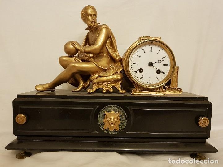 RELOJ FRANCÉS DE CALAMINA Y MÁRMOL. P. LESPERUT FILS AINE À PARIS (Relojes - Sobremesa Carga Manual)