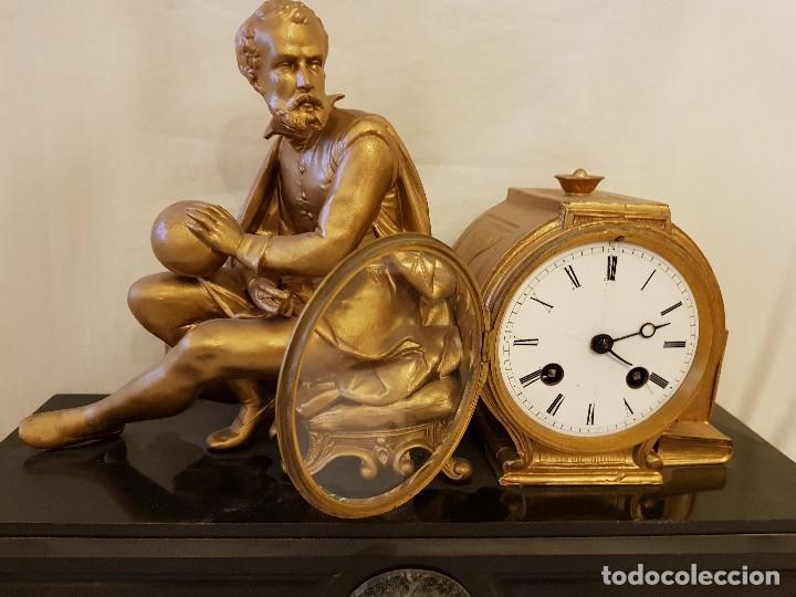Relojes de carga manual: Reloj francés de calamina y mármol. P. Lesperut Fils Aine à Paris - Foto 3 - 112478035