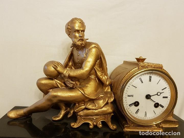 Relojes de carga manual: Reloj francés de calamina y mármol. P. Lesperut Fils Aine à Paris - Foto 4 - 112478035