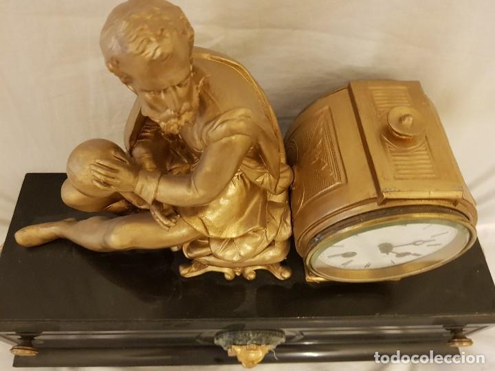 Relojes de carga manual: Reloj francés de calamina y mármol. P. Lesperut Fils Aine à Paris - Foto 6 - 112478035