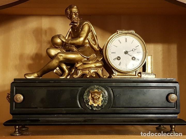 Relojes de carga manual: Reloj francés de calamina y mármol. P. Lesperut Fils Aine à Paris - Foto 2 - 112478035