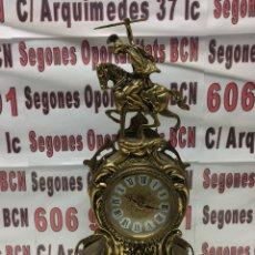 Relojes de carga manual: RELOJ DE BRONCE ESTILO CLÁSICO CON FIGURA DE SANTIAGO APOSTÓL A CABALLO. Lote 113139928