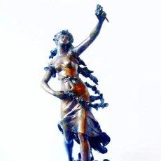Relojes de carga manual: AUGUSTE MOREAU - REVEIL DU MAI, MONUMENTAL RELOJ CON ESCULTURA ART NOUVEAU S.XIX. Lote 113788203