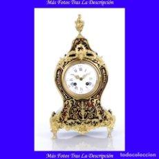 Relojes de carga manual: BONITO RELOJ DE SOBREMESA ANTIGUO CON MARQUETERÍA BOULLE. RESTAURADO. FRANCIA, CIRCA 1870. Lote 115072323