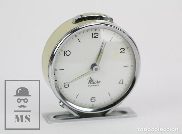 ANTIGUO RELOJ DESPERTADOR DE SOBREMESA - MICRO 2 JEWELS - AÑOS 50-60 - PIEZAS / RESTAURACIÓN (Relojes - Sobremesa Carga Manual)