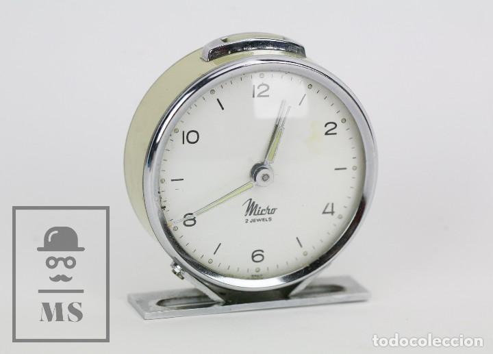 Relojes de carga manual: Antiguo Reloj Despertador de Sobremesa - Micro 2 Jewels - Años 50-60 - Piezas / Restauración - Foto 5 - 115550443