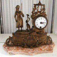 Relojes de carga manual: RELOJ DE BRONCE SOBREMESA CON BASE DE MARMOL. Lote 117060539