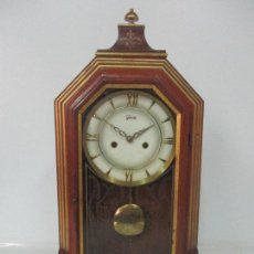 Relojes de carga manual: BONITO RELOJ DE SOBREMESA, CARGA MANUAL - MARCA GEIDES - MADERA DE ROBLE - COMPLETO - FUNCIONA. Lote 118783499