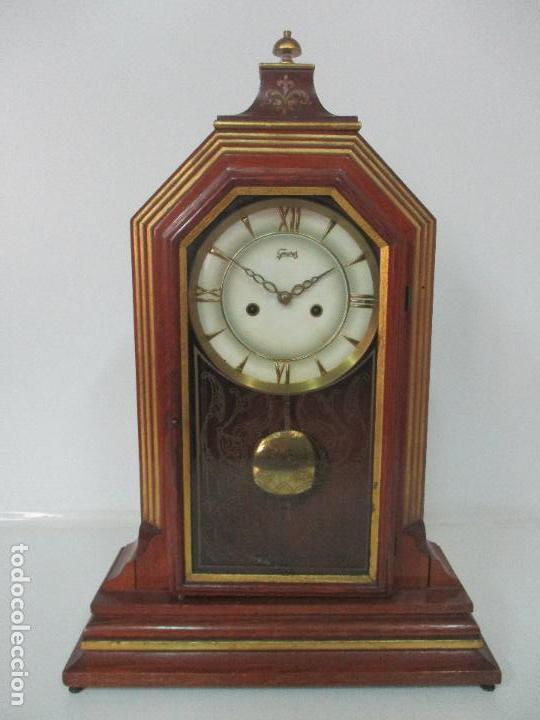 Relojes de carga manual: Bonito Reloj de Sobremesa, Carga Manual - Marca Geides - Madera de Roble - Completo - Funciona - Foto 2 - 118783499
