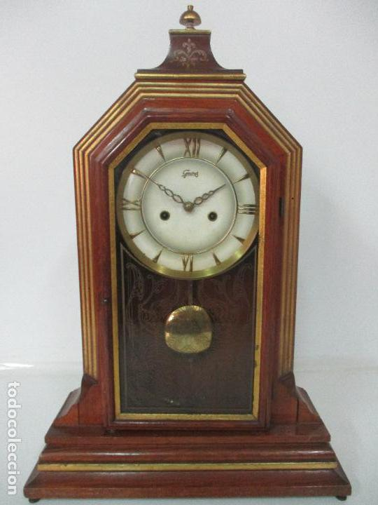 Relojes de carga manual: Bonito Reloj de Sobremesa, Carga Manual - Marca Geides - Madera de Roble - Completo - Funciona - Foto 3 - 118783499