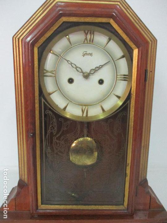 Relojes de carga manual: Bonito Reloj de Sobremesa, Carga Manual - Marca Geides - Madera de Roble - Completo - Funciona - Foto 6 - 118783499