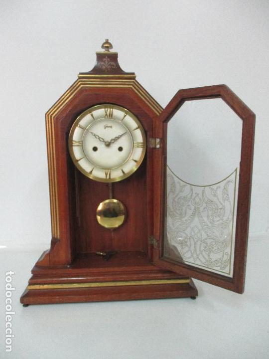 Relojes de carga manual: Bonito Reloj de Sobremesa, Carga Manual - Marca Geides - Madera de Roble - Completo - Funciona - Foto 9 - 118783499